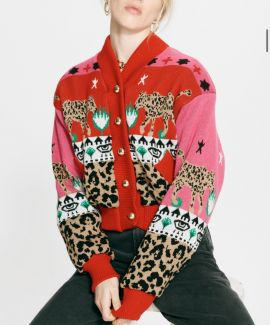 Hayley menzies-  LEOPARDESS COTTON  BOMBER Red