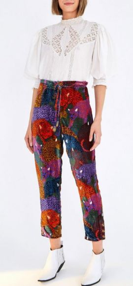 Farm | Rainbow Jaguar Velvet Pants