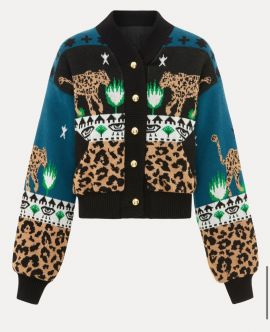 Hayley menzies-  LEOPARDESS COTTON  BOMBER Olive