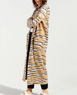 Long  cotton biege Tiger print cardigan