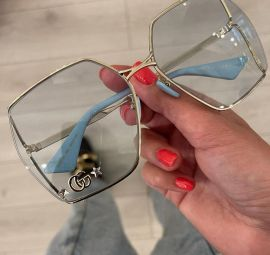 Gucci - GG logo blue clear  lenses- oversized